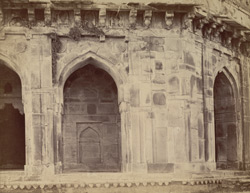 Close view showing details of arches on the ground floor of Hasa Khan Suri's Tomb, Sasaram. 1003481